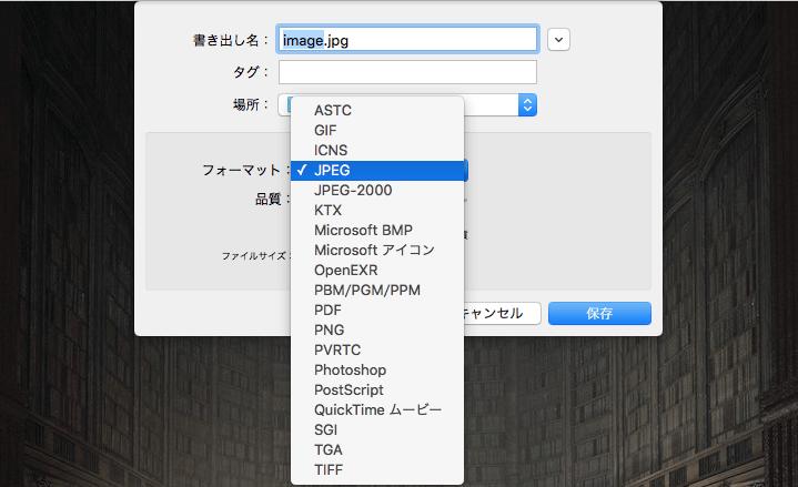 プレビューアプリフォーマット選択2
