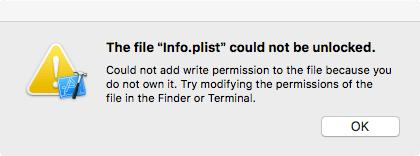 パーミッションが無いためInfo.plistの変更できない