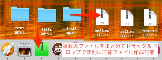 Mac-複数ファイルを個別に圧縮